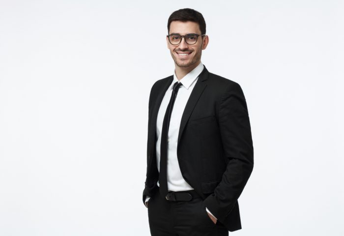Indoor,Picture,Of,Young,Business,Man,In,Glasses,Pictured,Isolated