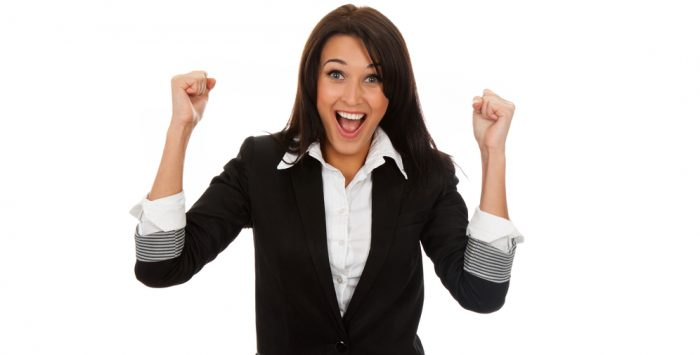 Successful,Executive,Very,Excited,,Happy,Smiling,Business,Woman,,Isolated,On